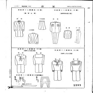 1962년 4월 27일 각령 제700호로 군인복제가 제정되었다. 군인이 착용할 제복의 제식(制式)과 그 착용에 관한 사항이 규정되어 있다. 문서는 군인복제를 담고 있는 당시 관보이다. 원문이미지