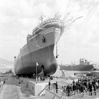 1973년 10월 14일 부산 조선공사에서 2만 톤급 대형유조선 「아프란?콘스텔레이숀」호의 진수식이 거행되었다. 이 유조선은 정유제품 2만 톤을 적제할 수 있으며 길이 172m, 항해속력 16노트의 성능을 지녔다. 원문이미지