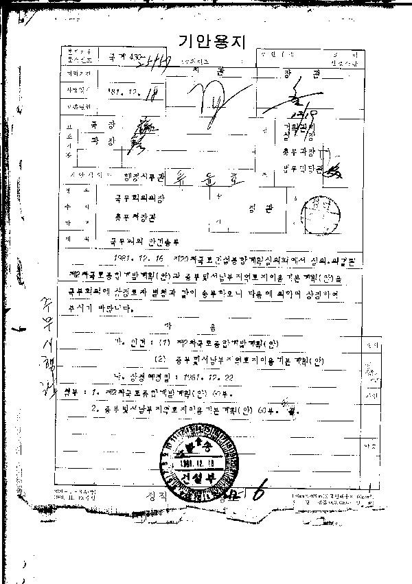 국무회의 안건 송부