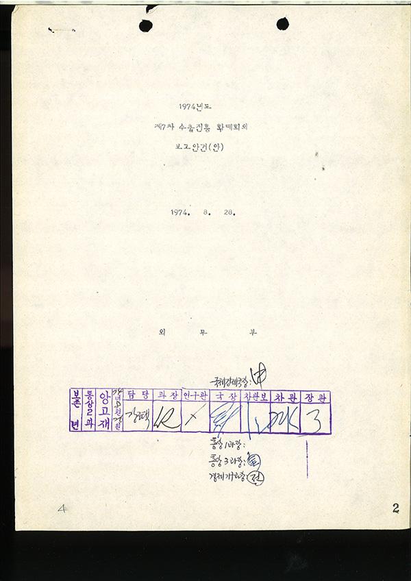 1974년도 제7차 수출진흥 확대회의 보고안건(안)
