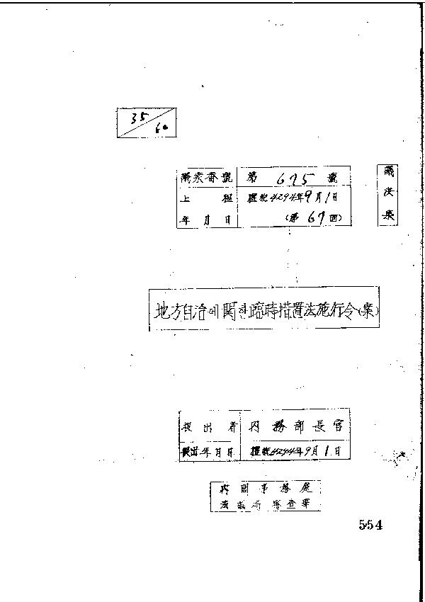지방자치에 관한 임시조치법 시행령(안)(제67회)